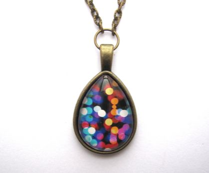 bright lights teardrop glass dome necklace