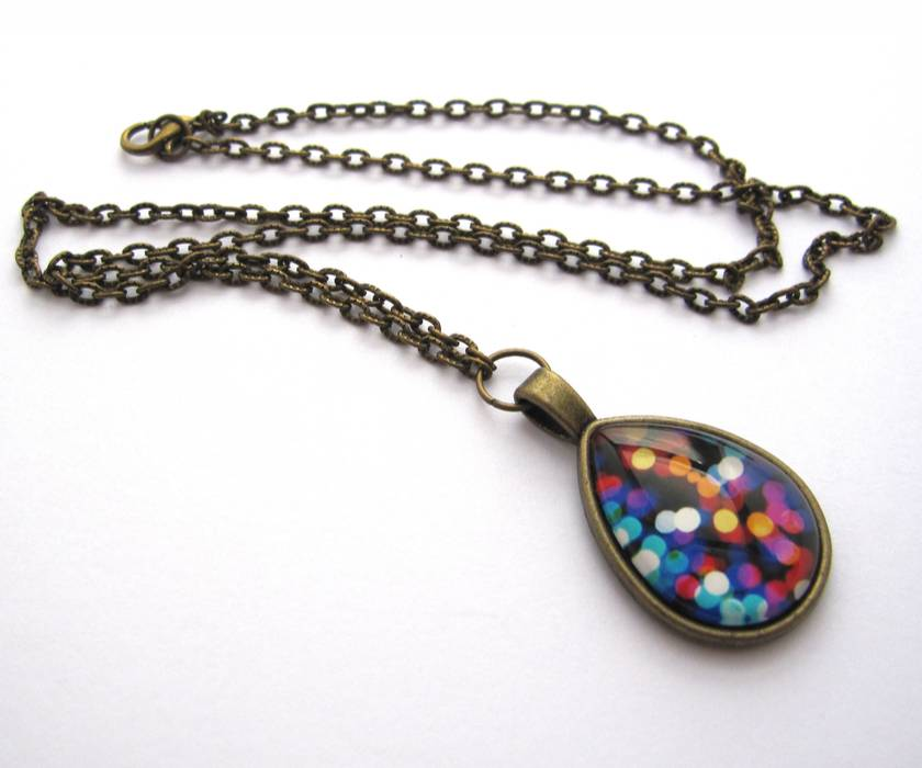 sale - bright lights teardrop glass dome necklace