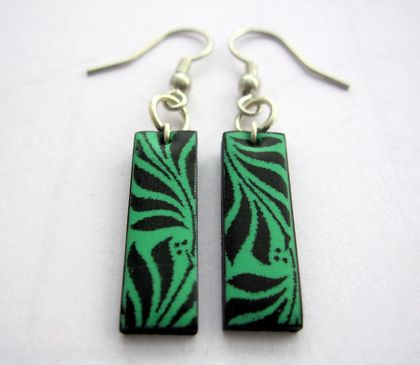 sale - Little minty patterened earrings