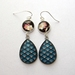 Double drop glass dome earrings - Japanese dream