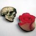 skull and rose - woodcut magnet duo