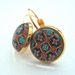 glass dome earrings - oriental orange and turquoise