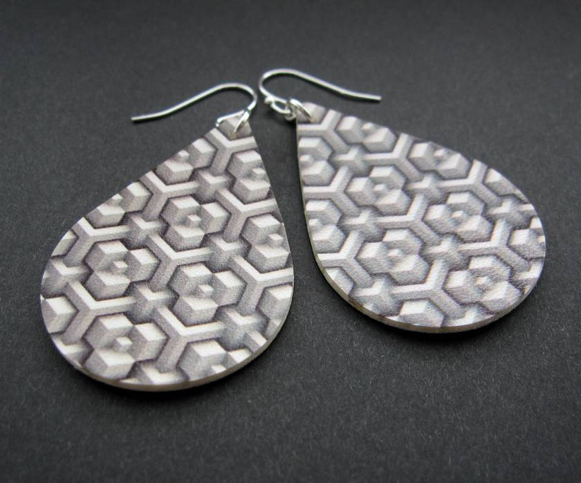 Printed faux leather teardrop earrings