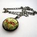 Patterned brass locket necklace - birds on a branch