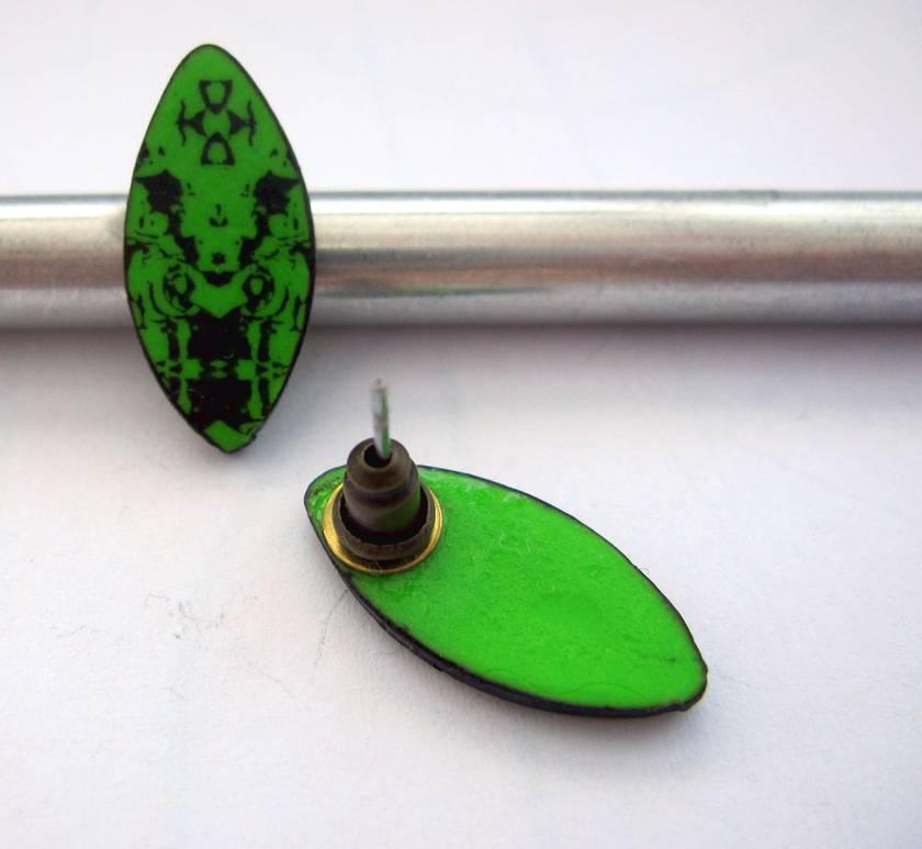 Bright apple green fractal shield earrings