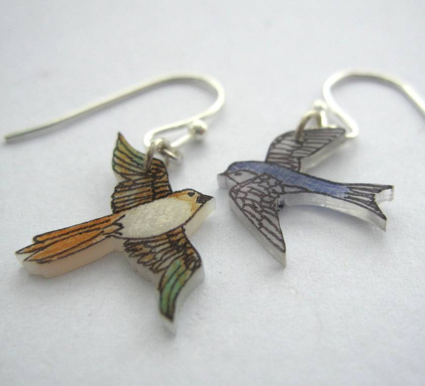 Mismatched bird earrings
