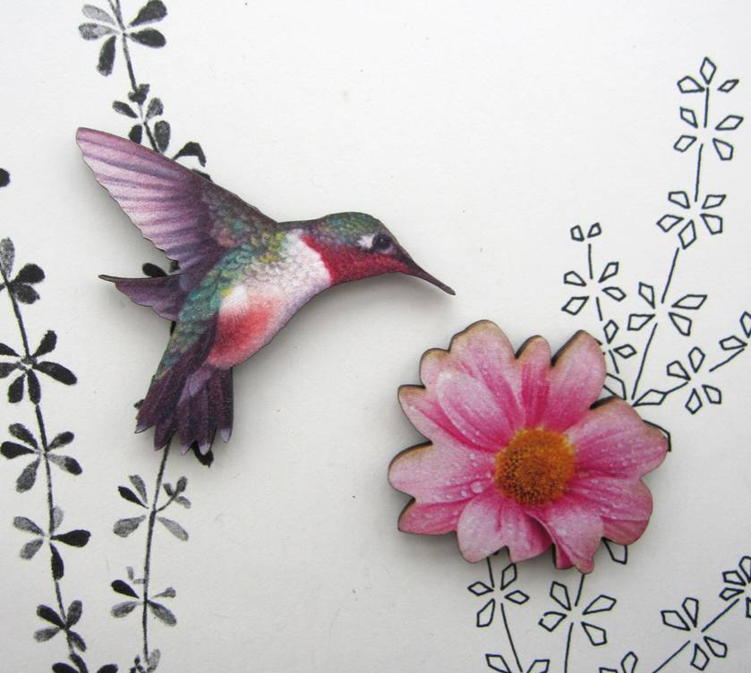 Hummingbird and flower - woodcut magnet set