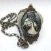 Art nouveau forest - Large glass dome necklace in ornate setting
