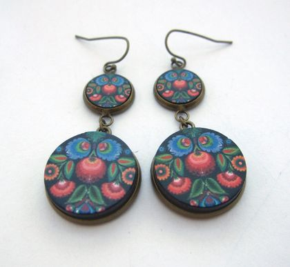 Polish folk art tiered earrings