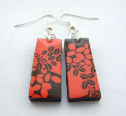 Peachy orange abstract floral earrings