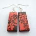 Peachy orange abstract floral earrings