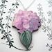 Hydrangea woodcut necklace