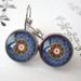 beautiful blue circular design earrings
