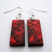 sale - Bright red and black abstract leafy vine earrings