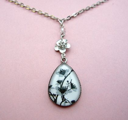 blossoms teardrop glass dome necklace with charm and crystal drop