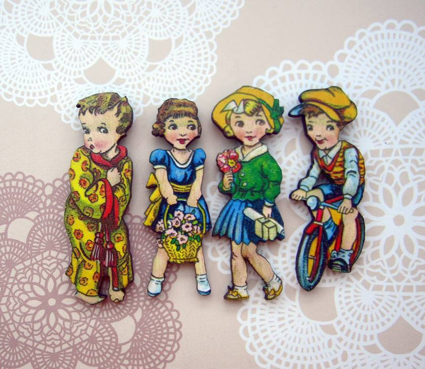 Vintage children - woodcut magnet set