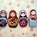matryoshka / russian nesting doll - woodcut magnet set