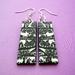 black and white folk forest earrings