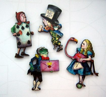 Alice in Wonderland - woodcut magnet set