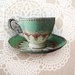 Vintage teacup brooch - mint green and pink