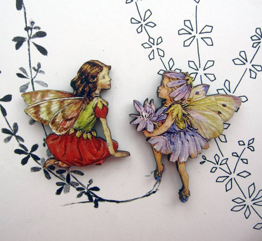 Flower fairies - woodcut magnet duo