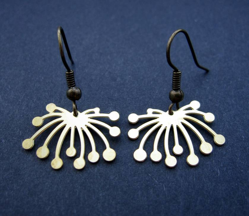 abstract dandelion outline earrings - short hooks