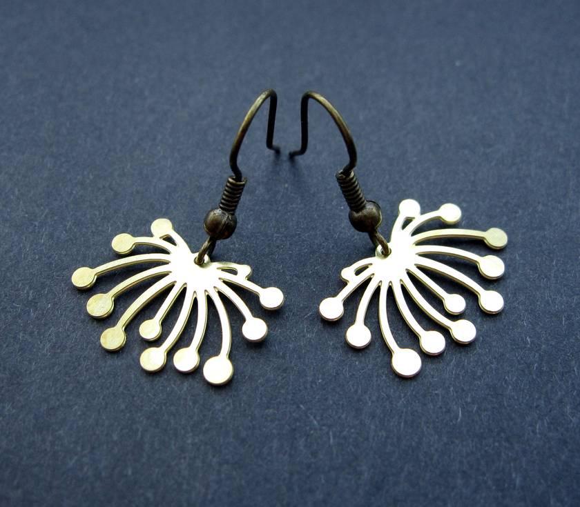 abstract dandelion outline earrings - short hooks