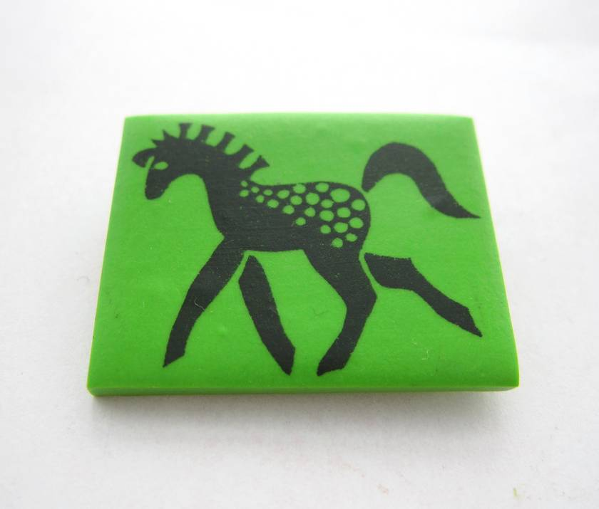Apple green and black retro pony brooch