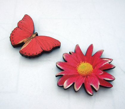 sale - Butterfly and flower - woodcut magnet duo