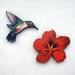 Hummingbird and flower - woodcut magnet set
