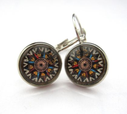 sale - glass dome compass earrings
