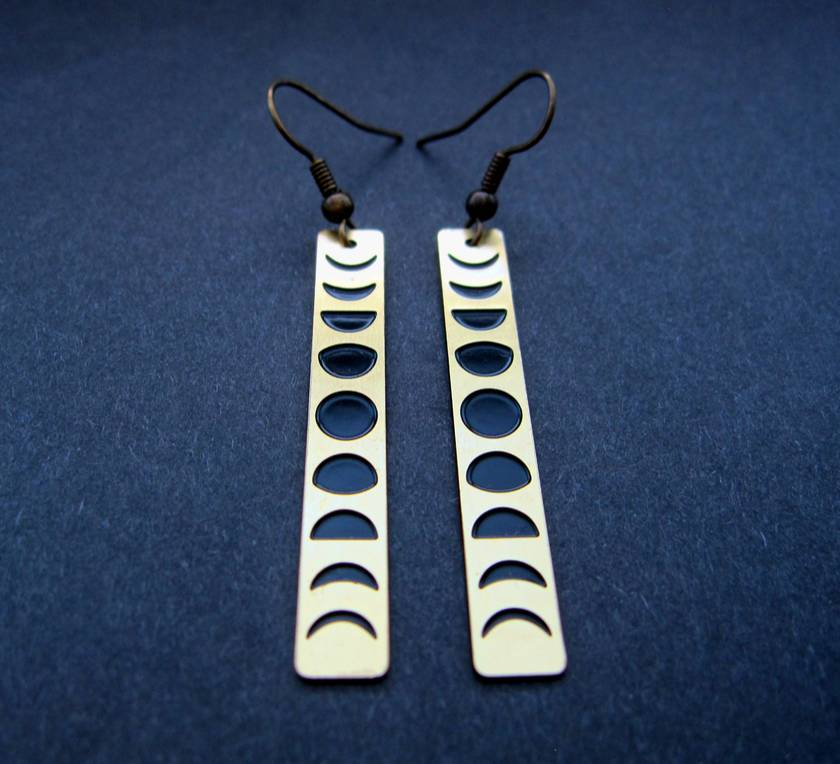 Moon phases - etched brass bar earrings