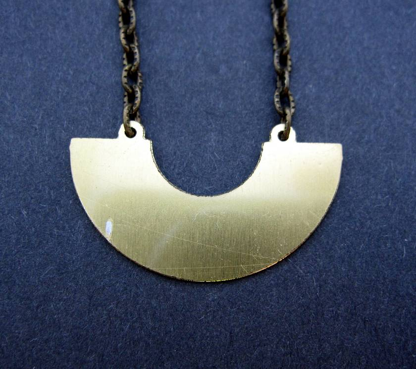 Moon phases - etched brass necklace