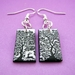 black and white forest earrings