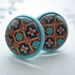 beautiful oriental patterned stud earrings in mint base