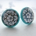 black and white patterned stud earrings in mint base