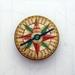 sale - vintage compass woodcut brooch