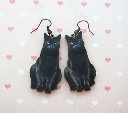 Black cat woodcut earrings