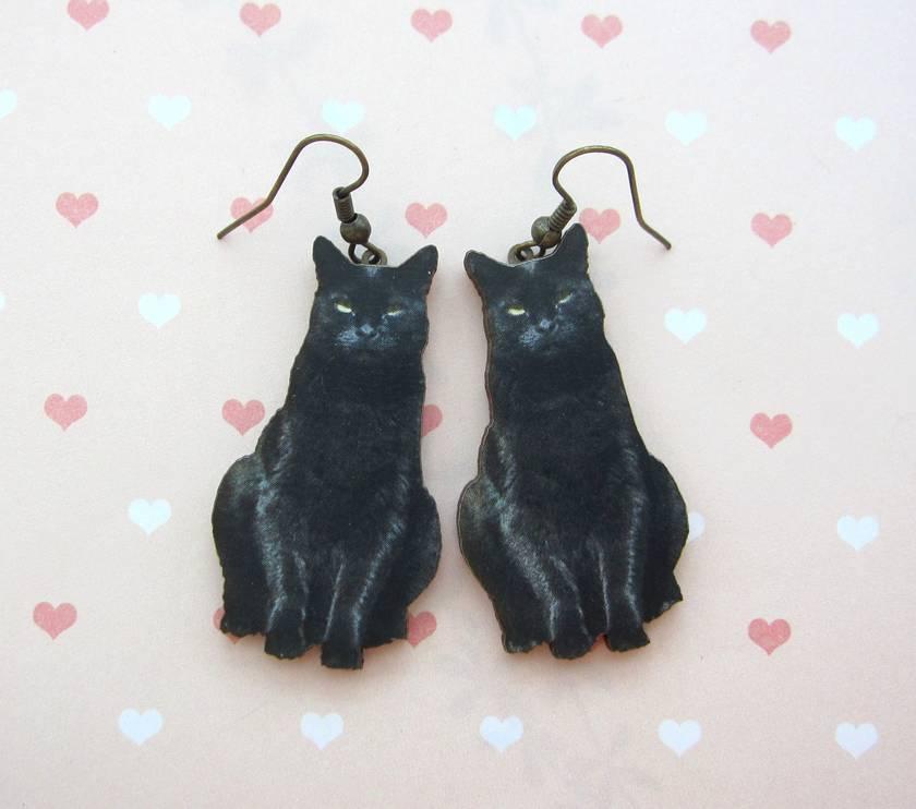 Black cat woodcut earrings