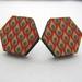 Hexagonal droplets pattern - wooden stud earrings
