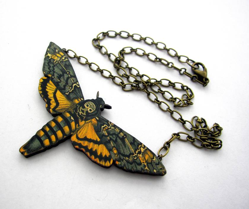 Dead head moth necklace