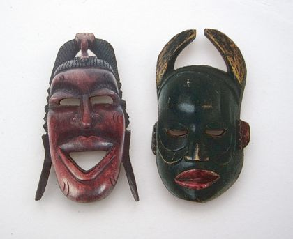 tribal masks - woodcut magnet duo