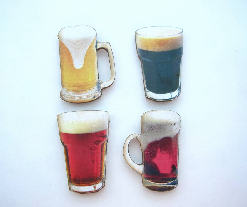 Tasty beverages - woodcut magnet set