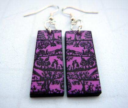 Lilac and black folk forest earrings