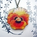 Pansy woodcut necklace