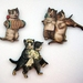 Kitsch kitties - the wedding party - woodcut magnets