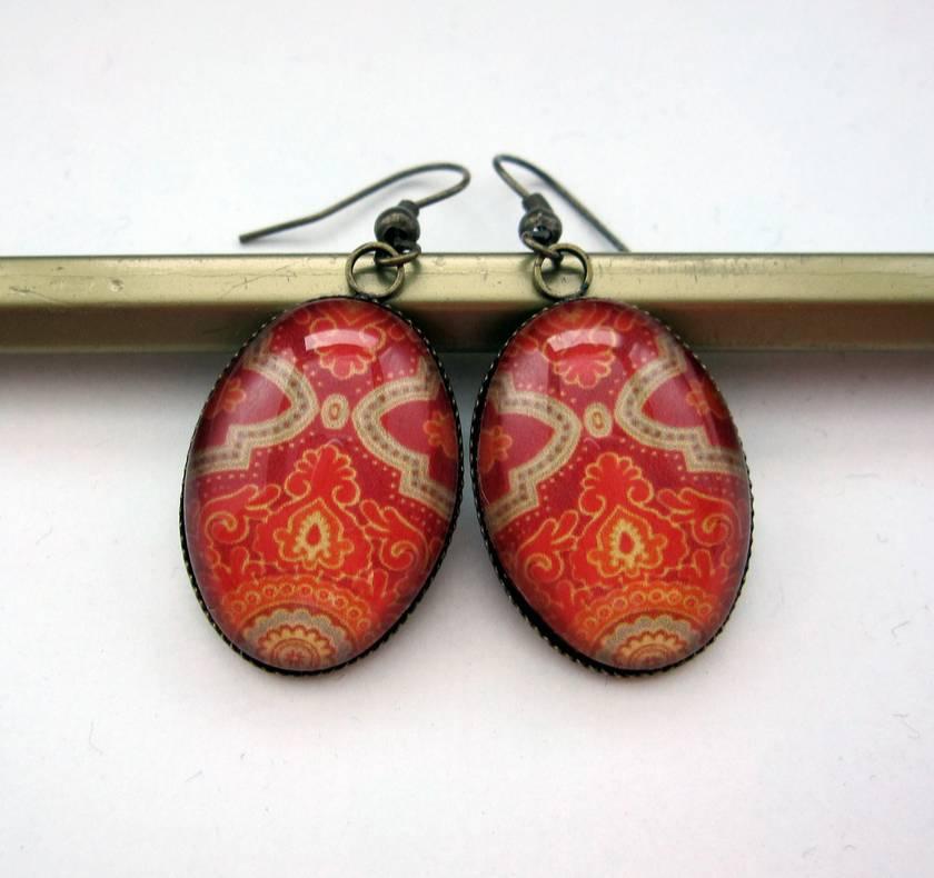 Vibrant orange patterned earrings