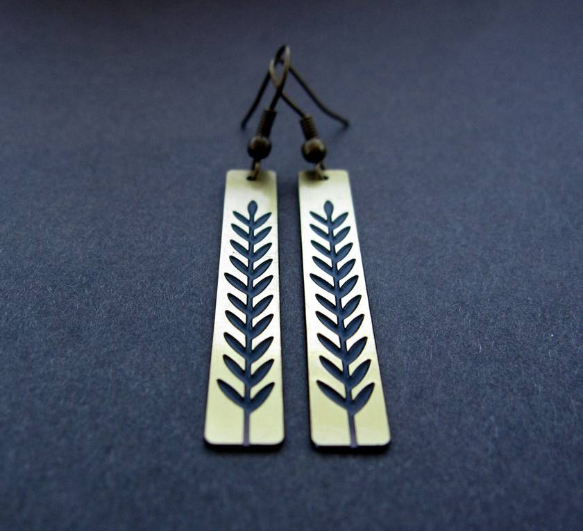 botanical silhouette 2 - etched brass bar earrings