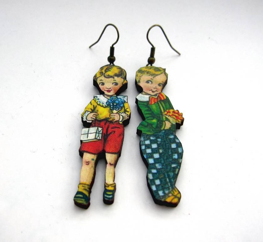 charming vintage children woodcut earrings