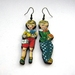 charming vintage children woodcut earrings